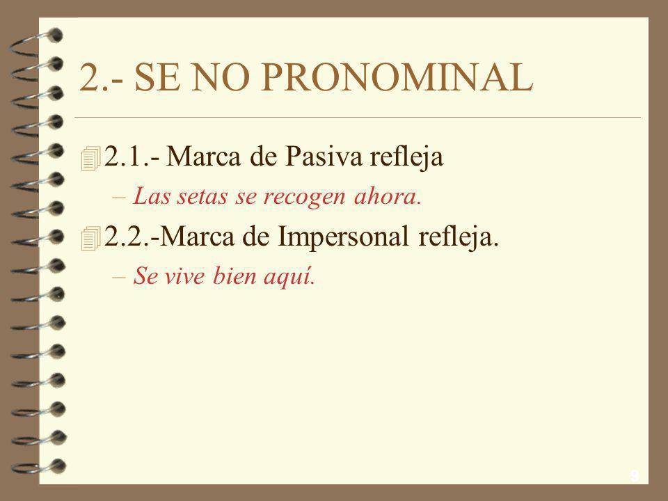 9 2.- SE NO PRONOMINAL 4 2.1.- Marca de Pasiva refleja –Las setas se recogen ahora.