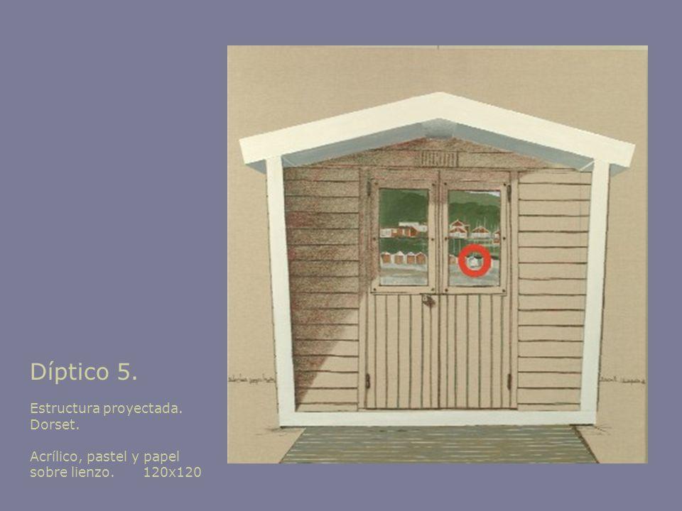 Díptico 5. Estructura proyectada. Dorset. Acrílico, pastel y papel sobre lienzo. 120x120