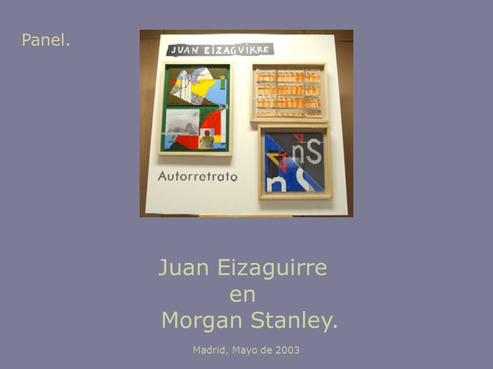 Juan Eizaguirre en Morgan Stanley. Madrid, Mayo de 2003 Panel.