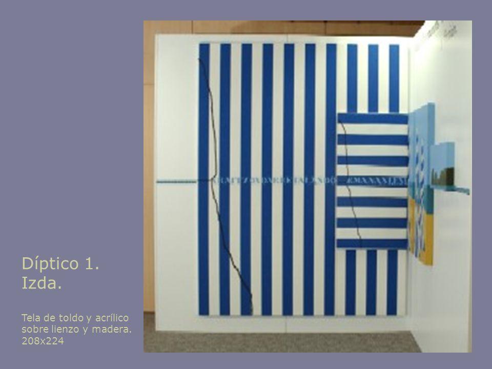 Díptico 1. Izda. Tela de toldo y acrílico sobre lienzo y madera. 208x224