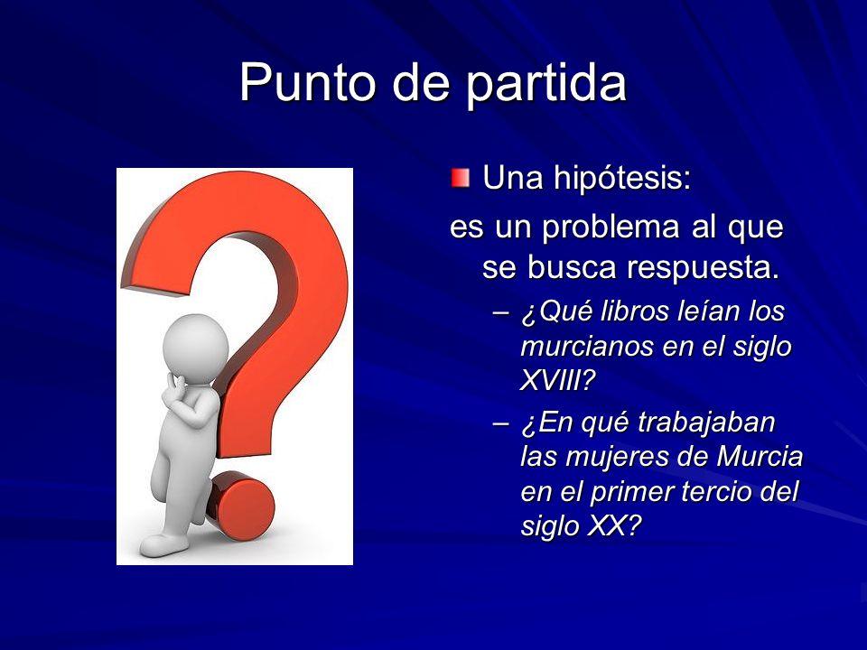 Punto de partida Una hipótesis: es un problema al que se busca respuesta.