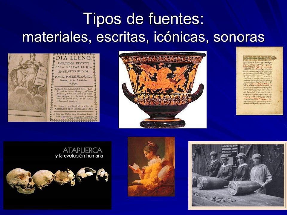Tipos de fuentes: materiales, escritas, icónicas, sonoras