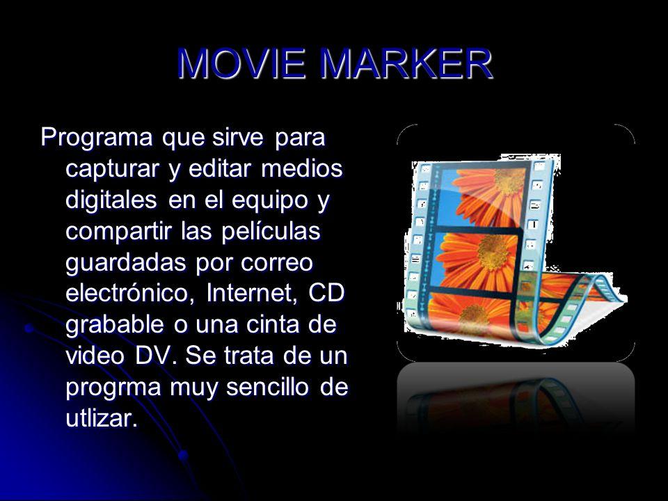 MOVIE MARKER Programa que sirve para capturar y editar medios digitales en el equipo y compartir las películas guardadas por correo electrónico, Inter