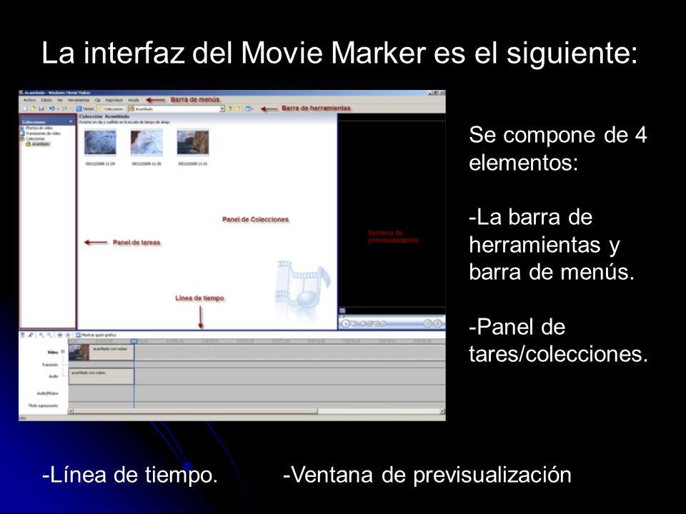 La interfaz del Movie Marker es el siguiente: Se compone de 4 elementos: -La barra de herramientas y barra de menús. -Panel de tares/colecciones. -Lín