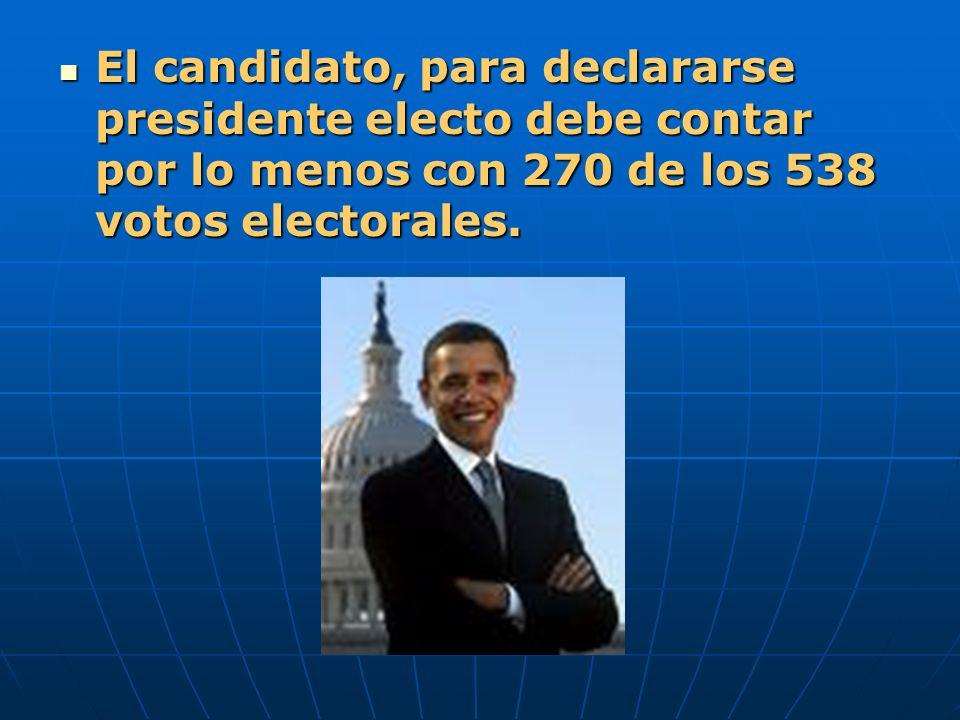 El candidato, para declararse presidente electo debe contar por lo menos con 270 de los 538 votos electorales. El candidato, para declararse president