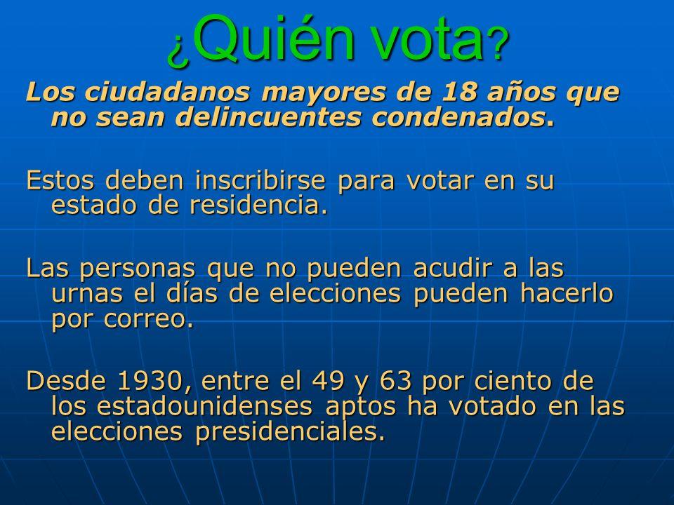 ¿ Quién vota ? Los ciudadanos mayores de 18 años que no sean delincuentes condenados. Estos deben inscribirse para votar en su estado de residencia. L
