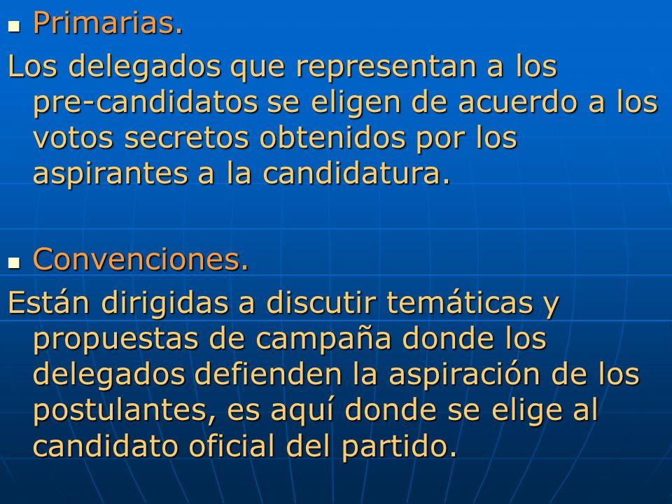 Primarias. Primarias. Los delegados que representan a los pre-candidatos se eligen de acuerdo a los votos secretos obtenidos por los aspirantes a la c