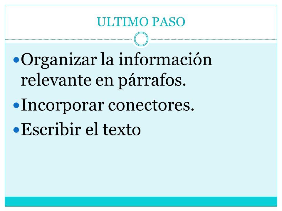 ULTIMO PASO Organizar la información relevante en párrafos. Incorporar conectores. Escribir el texto
