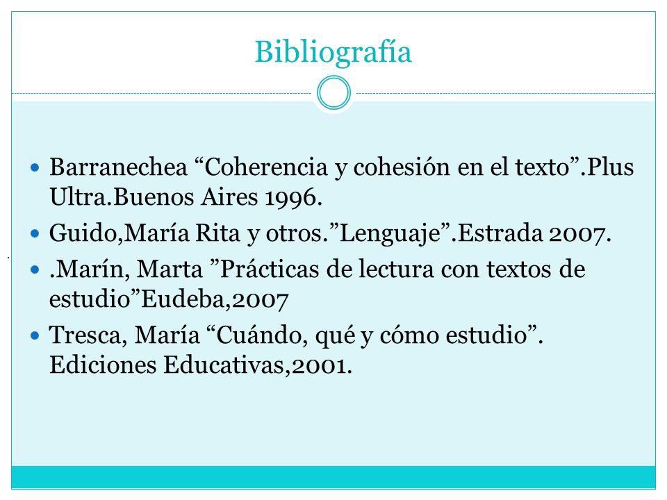 Bibliografía Barranechea Coherencia y cohesión en el texto.Plus Ultra.Buenos Aires 1996. Guido,María Rita y otros.Lenguaje.Estrada 2007..Marín, Marta