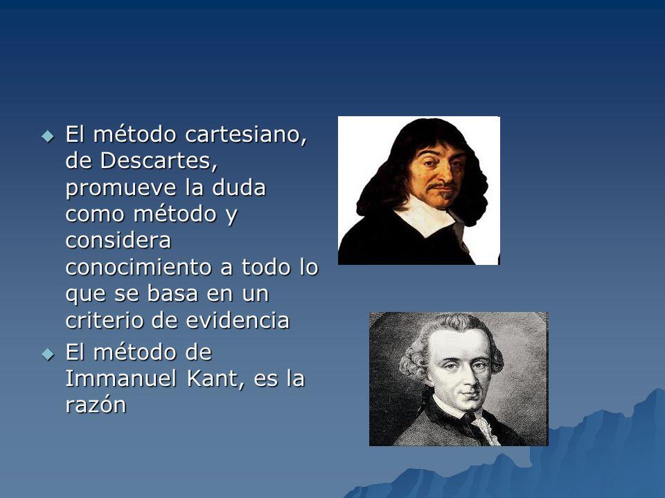 El método cartesiano, de Descartes, promueve la duda como método y considera conocimiento a todo lo que se basa en un criterio de evidencia El método