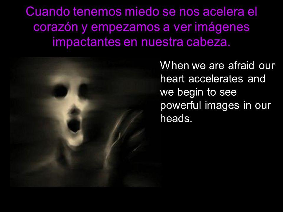 Cuando tenemos miedo se nos acelera el corazón y empezamos a ver imágenes impactantes en nuestra cabeza. When we are afraid our heart accelerates and