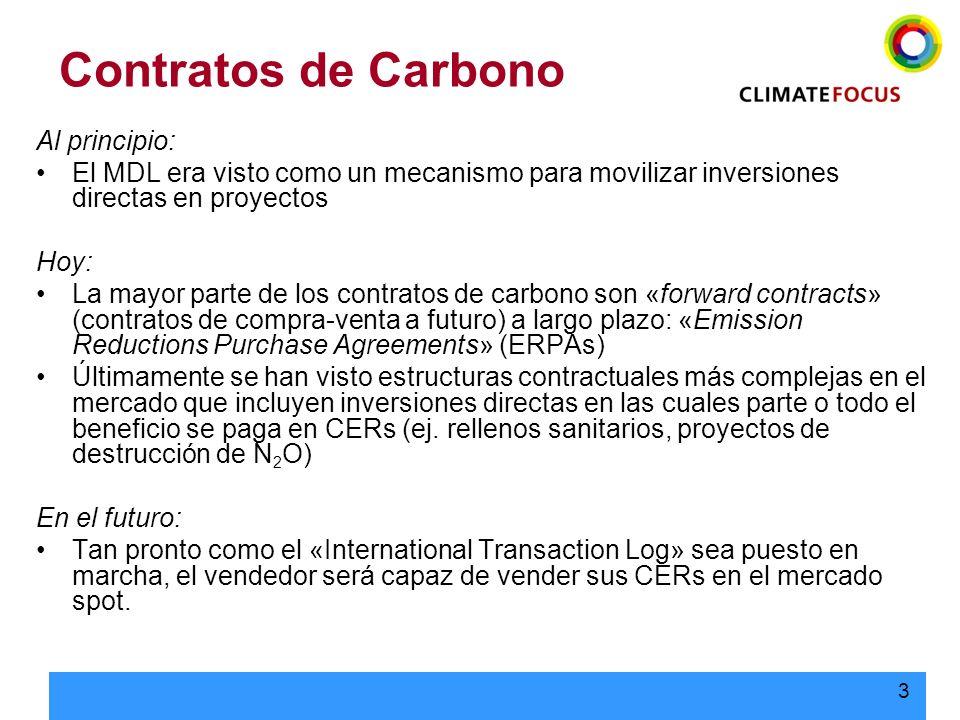 4 MDL: Compraventas de CERs > 80 % del mercado MDL Adquisición de derechos de CERs a futuro Forwards: ERPA Contratos negociados individualmente Poca estandardización VENDEDOR COMPRADOR