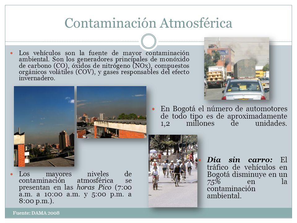 Contaminación Atmosférica Los mayores niveles de contaminación atmosférica se presentan en las horas Pico (7:00 a.m. a 10:00 a.m. y 5:00 p.m. a 8:00 p