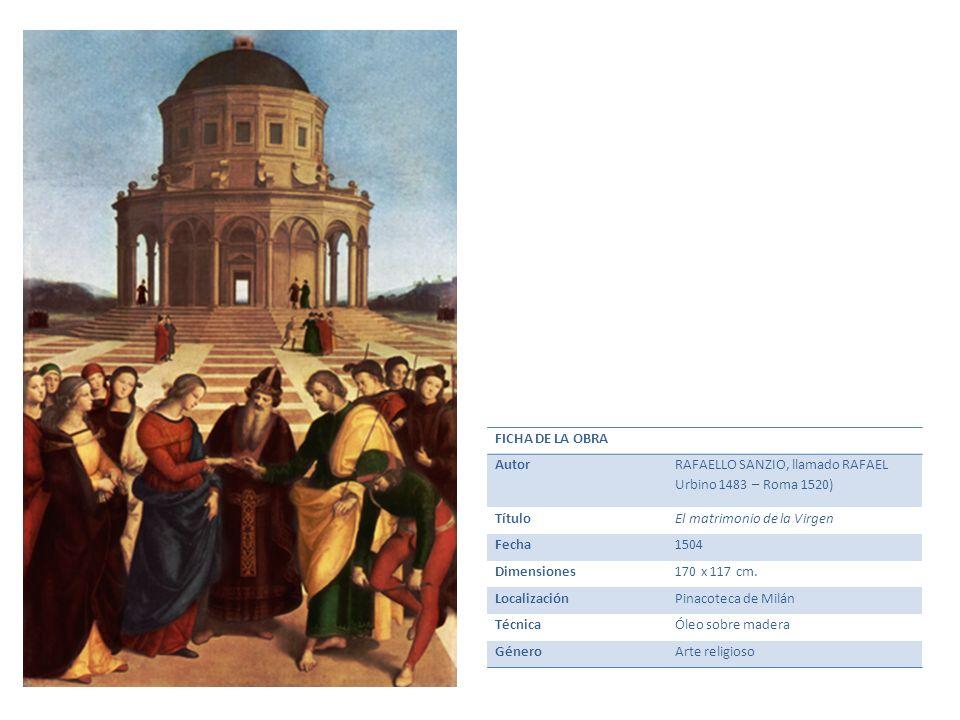 FICHA DE LA OBRA Autor RAFAELLO SANZIO, llamado RAFAEL Urbino 1483 – Roma 1520) TítuloEl matrimonio de la Virgen Fecha1504 Dimensiones170 x 117 cm. Lo