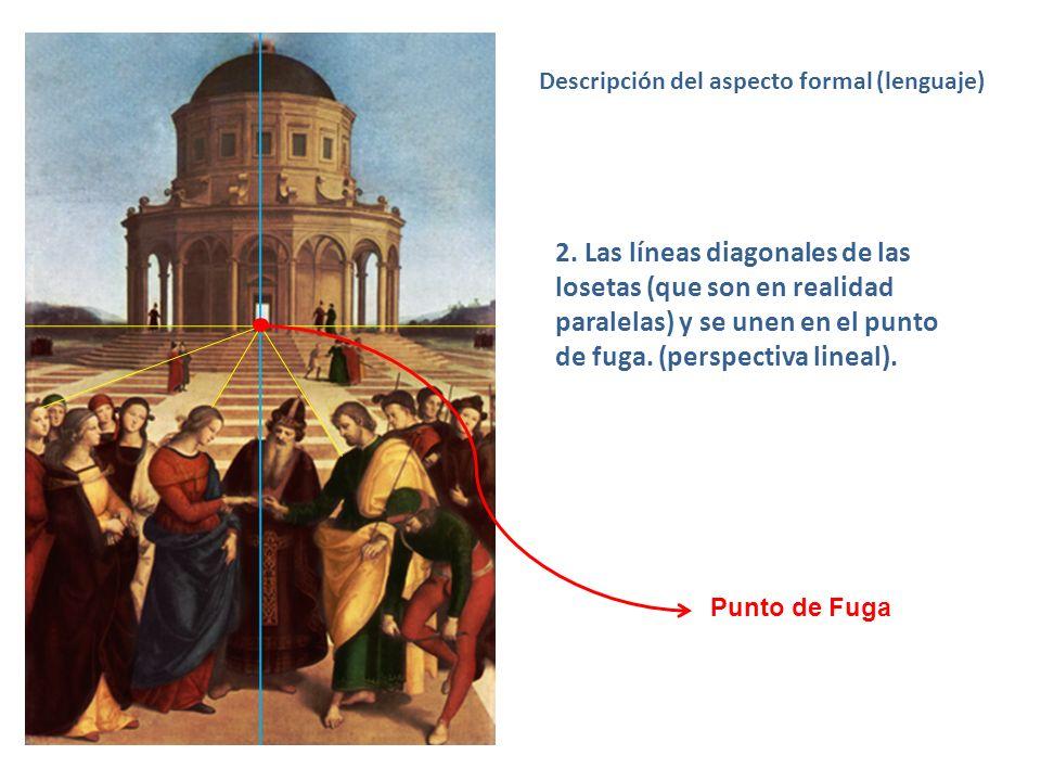 2. Las líneas diagonales de las losetas (que son en realidad paralelas) y se unen en el punto de fuga. (perspectiva lineal). Descripción del aspecto f