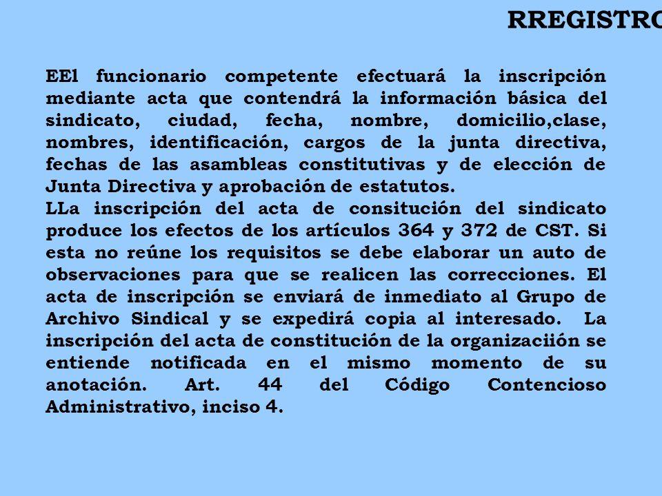 EEl funcionario competente efectuará la inscripción mediante acta que contendrá la información básica del sindicato, ciudad, fecha, nombre, domicilio,