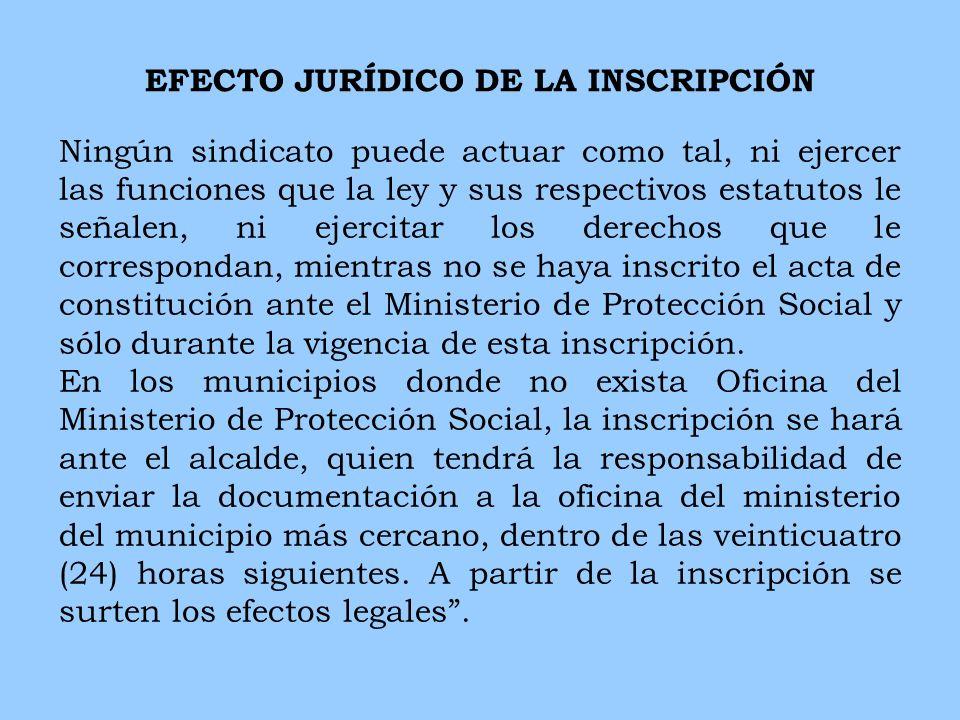 EFECTO JURÍDICO DE LA INSCRIPCIÓN Ningún sindicato puede actuar como tal, ni ejercer las funciones que la ley y sus respectivos estatutos le señalen,