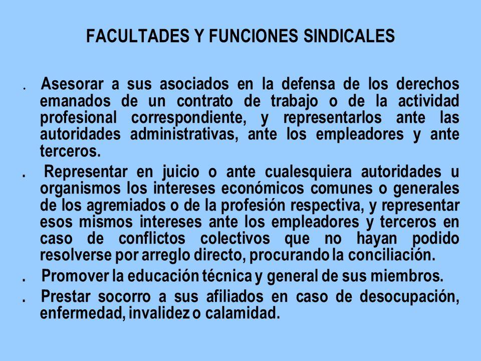 FACULTADES Y FUNCIONES SINDICALES. Asesorar a sus asociados en la defensa de los derechos emanados de un contrato de trabajo o de la actividad profesi