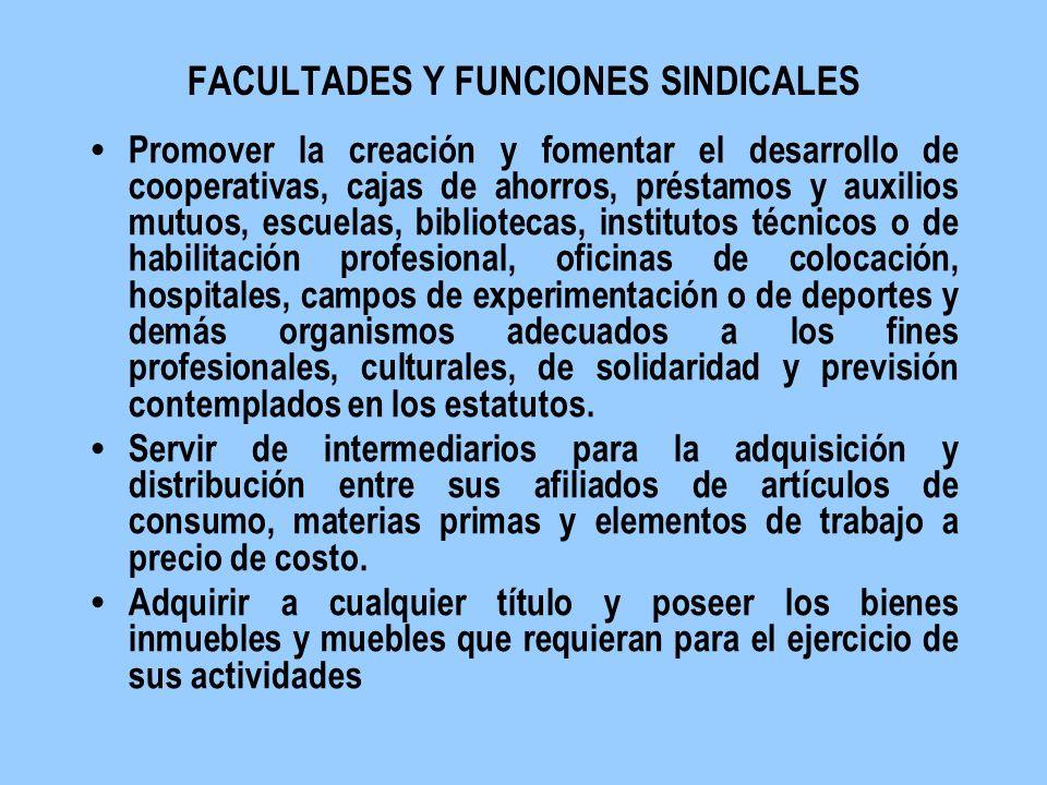 FACULTADES Y FUNCIONES SINDICALES Promover la creación y fomentar el desarrollo de cooperativas, cajas de ahorros, préstamos y auxilios mutuos, escuel