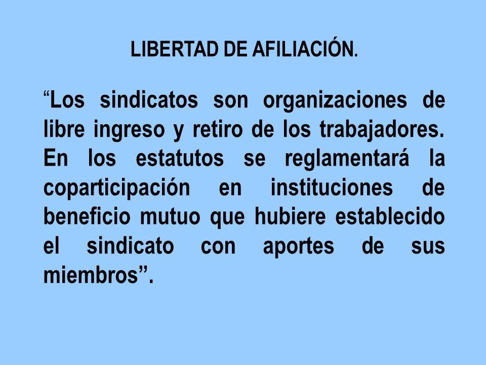 LIBERTAD DE AFILIACIÓN. Los sindicatos son organizaciones de libre ingreso y retiro de los trabajadores. En los estatutos se reglamentará la copartici
