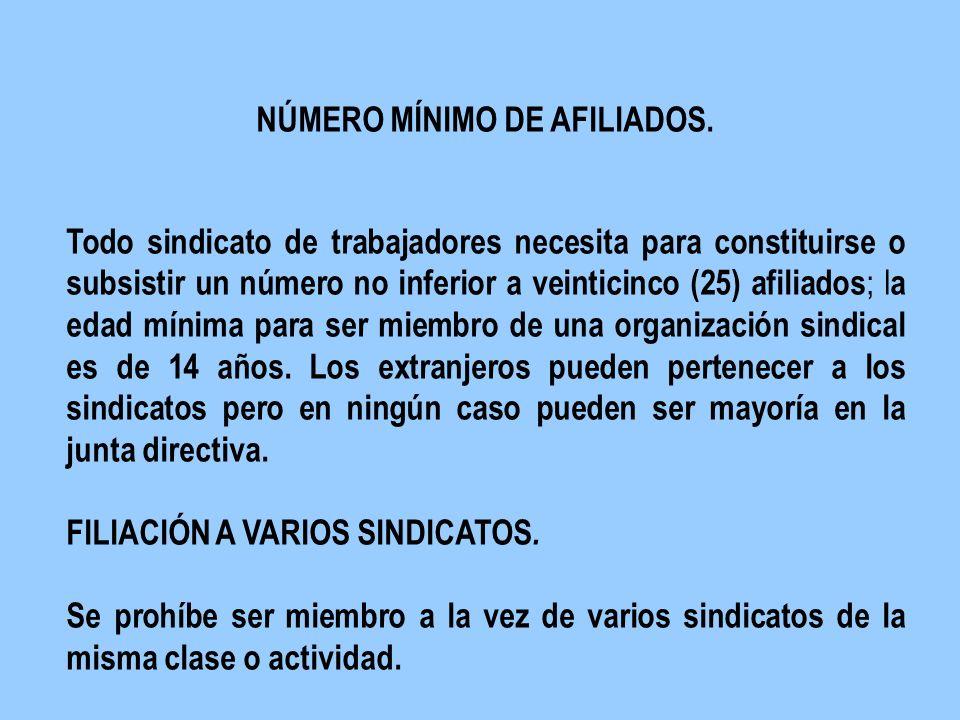 N NÚMERO MÍNIMO DE AFILIADOS. T Todo sindicato de trabajadores necesita para constituirse o subsistir un número no inferior a veinticinco (25) afiliad
