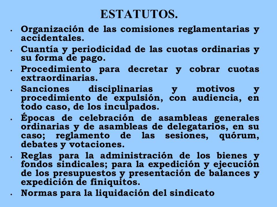ESTATUTOS. Organización de las comisiones reglamentarias y accidentales. Cuantía y periodicidad de las cuotas ordinarias y su forma de pago. Procedimi