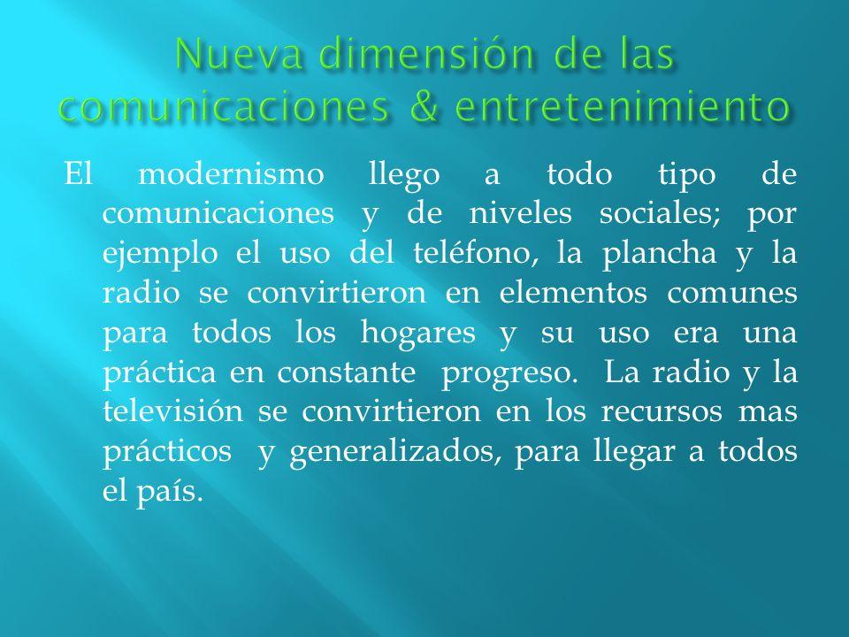 El modernismo llego a todo tipo de comunicaciones y de niveles sociales; por ejemplo el uso del teléfono, la plancha y la radio se convirtieron en ele