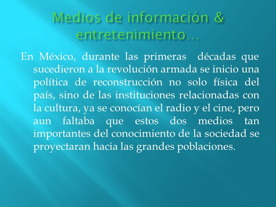 En México, durante las primeras décadas que sucedieron a la revolución armada se inicio una política de reconstrucción no solo física del país, sino d