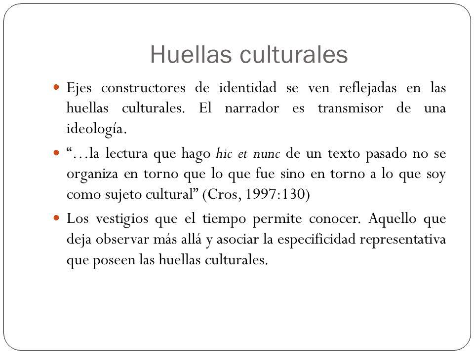 Huellas culturales Ejes constructores de identidad se ven reflejadas en las huellas culturales. El narrador es transmisor de una ideología. …la lectur