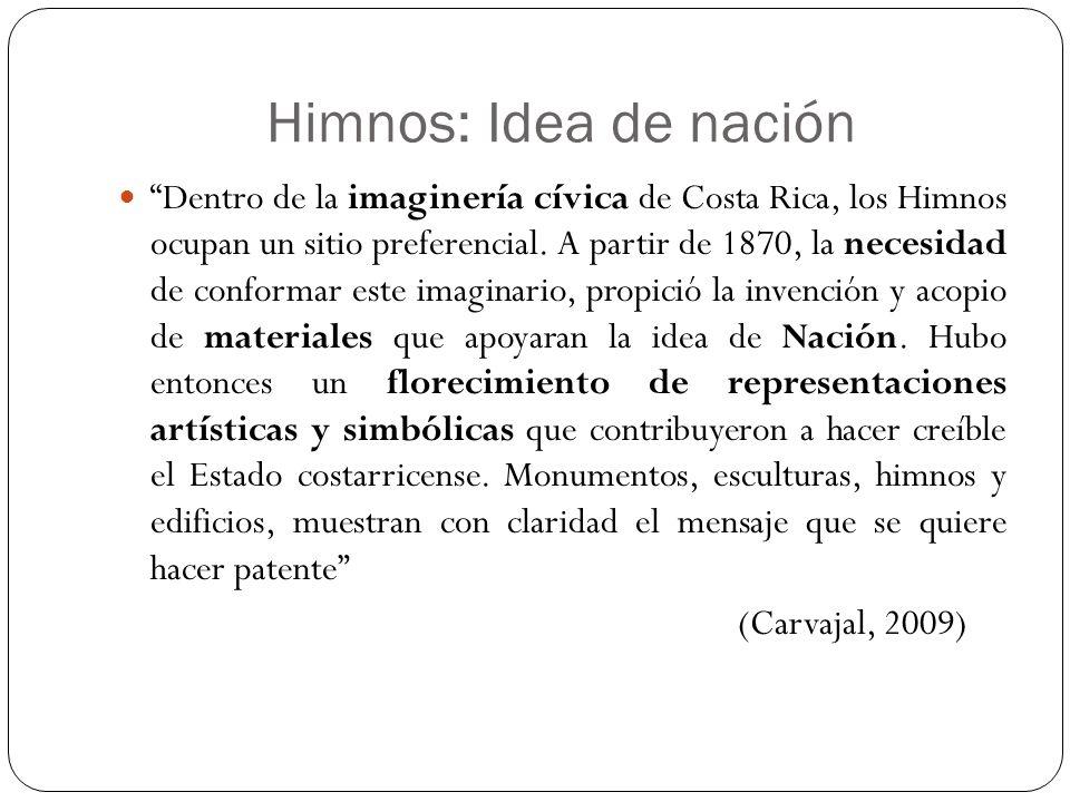 Himnos: Idea de nación Dentro de la imaginería cívica de Costa Rica, los Himnos ocupan un sitio preferencial. A partir de 1870, la necesidad de confor