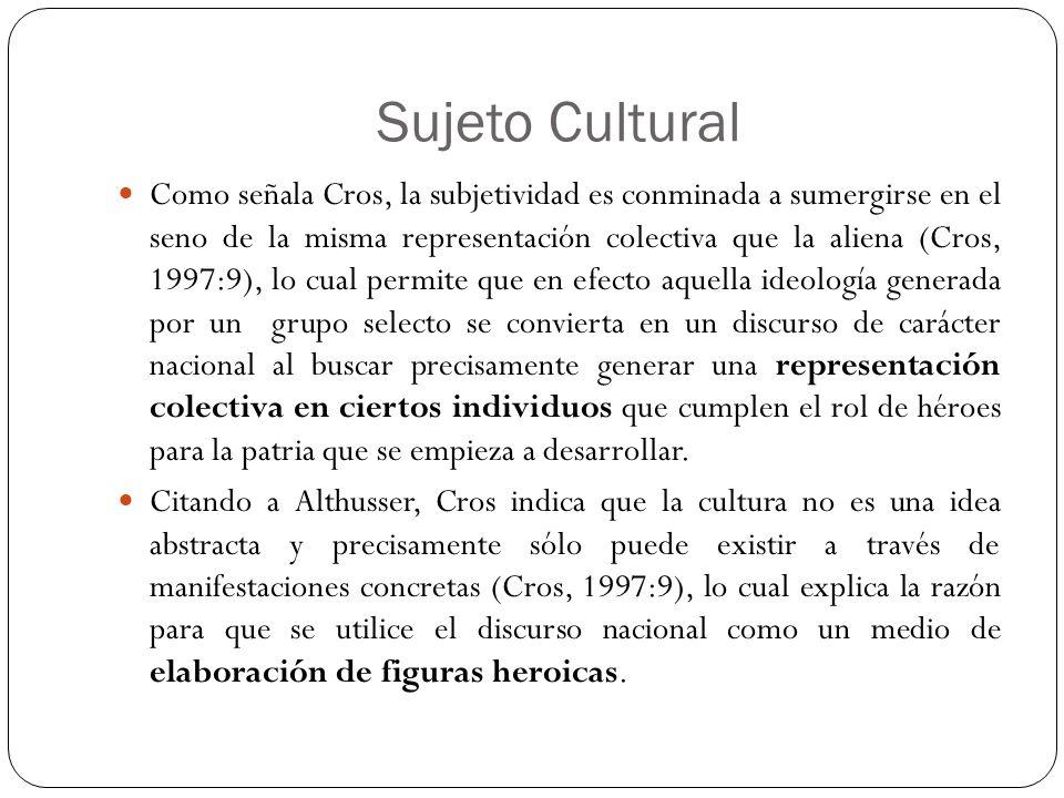Sujeto Cultural Como señala Cros, la subjetividad es conminada a sumergirse en el seno de la misma representación colectiva que la aliena (Cros, 1997: