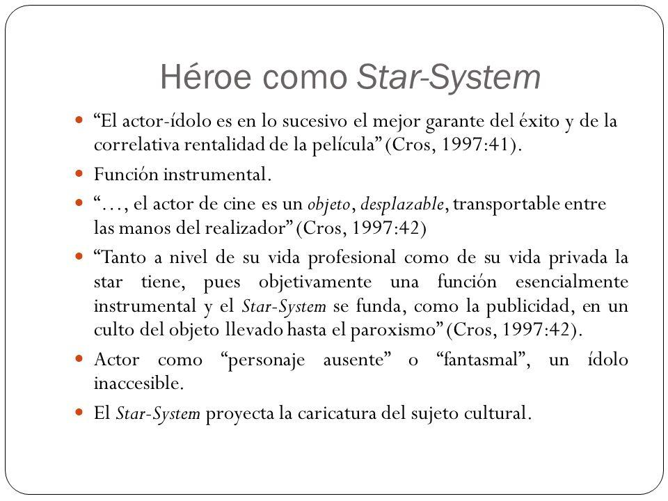 Héroe como Star-System El actor-ídolo es en lo sucesivo el mejor garante del éxito y de la correlativa rentalidad de la película (Cros, 1997:41). Func