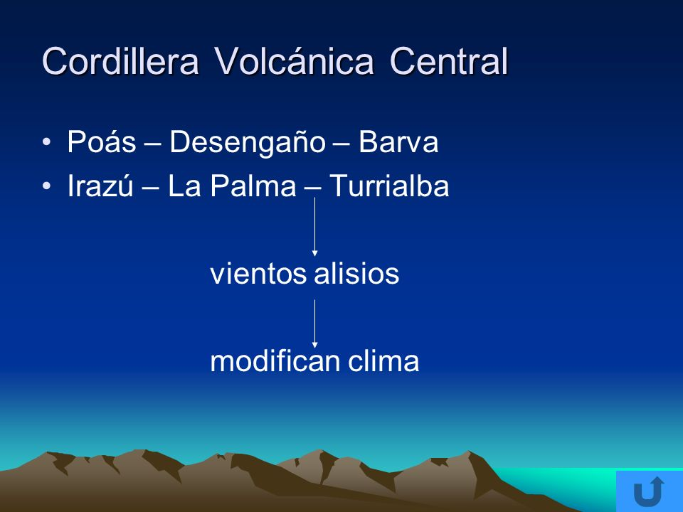 Cordillera Volcánica Central Poás – Desengaño – Barva Irazú – La Palma – Turrialba vientos alisios modifican clima