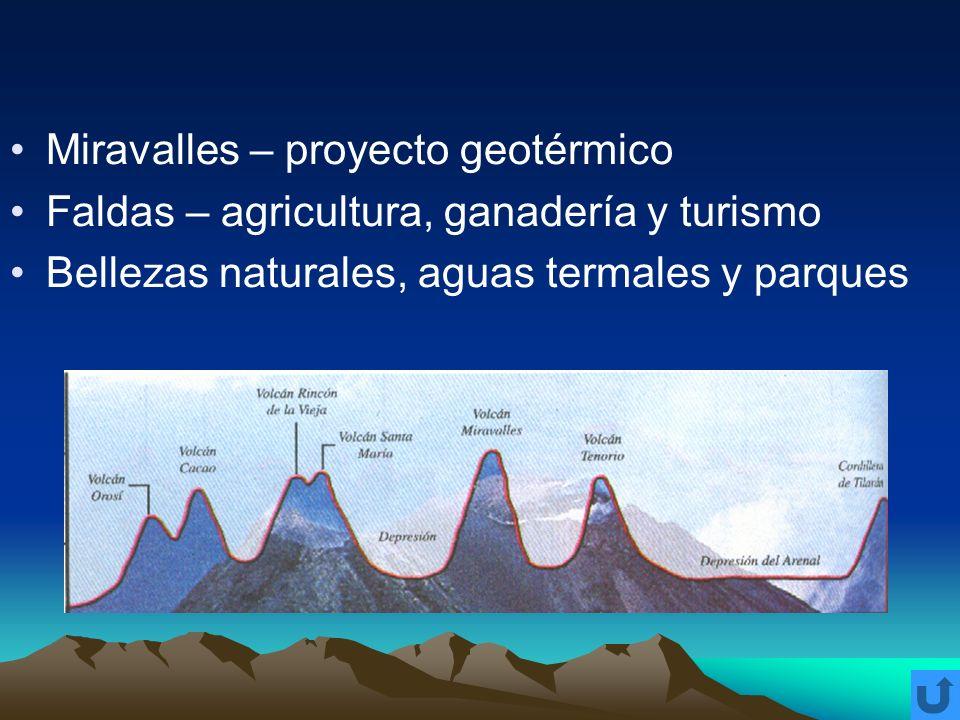 Miravalles – proyecto geotérmico Faldas – agricultura, ganadería y turismo Bellezas naturales, aguas termales y parques