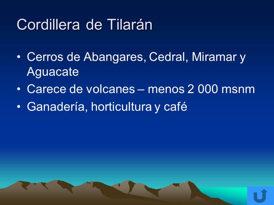 Cordillera de Tilarán Cerros de Abangares, Cedral, Miramar y Aguacate Carece de volcanes – menos 2 000 msnm Ganadería, horticultura y café