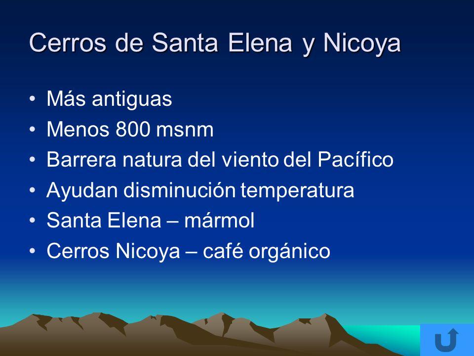 Cerros de Santa Elena y Nicoya Más antiguas Menos 800 msnm Barrera natura del viento del Pacífico Ayudan disminución temperatura Santa Elena – mármol
