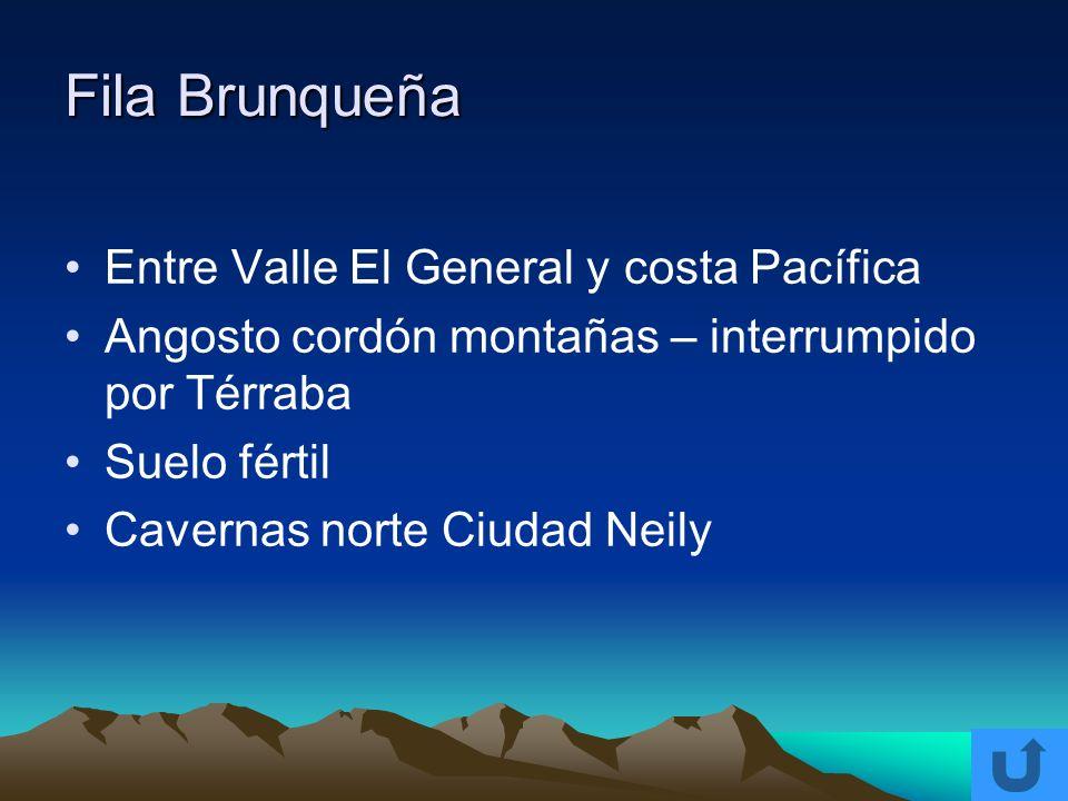Fila Brunqueña Entre Valle El General y costa Pacífica Angosto cordón montañas – interrumpido por Térraba Suelo fértil Cavernas norte Ciudad Neily