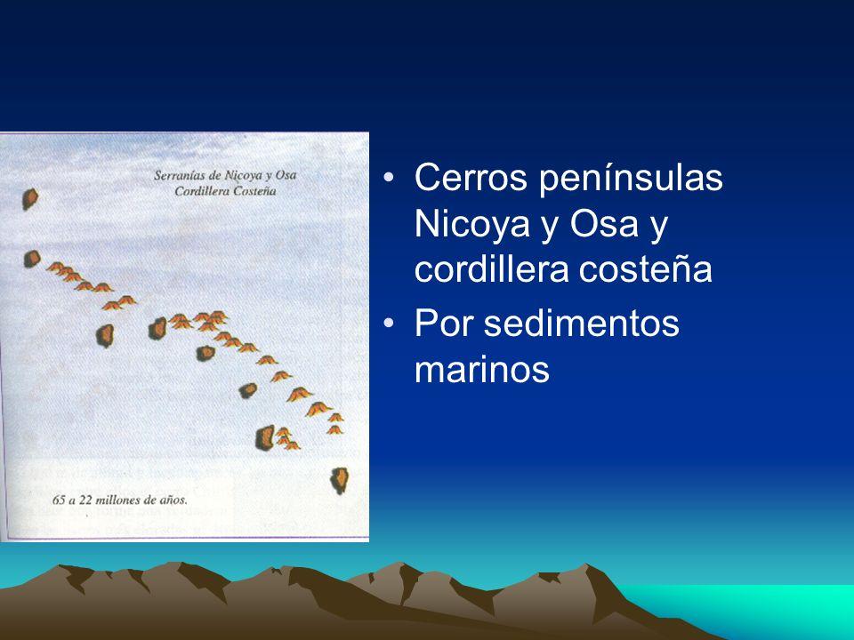 Cerros penínsulas Nicoya y Osa y cordillera costeña Por sedimentos marinos