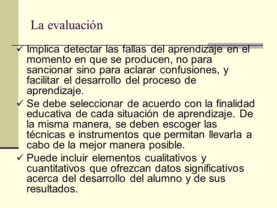 La evaluación Implica detectar las fallas del aprendizaje en el momento en que se producen, no para sancionar sino para aclarar confusiones, y facilit