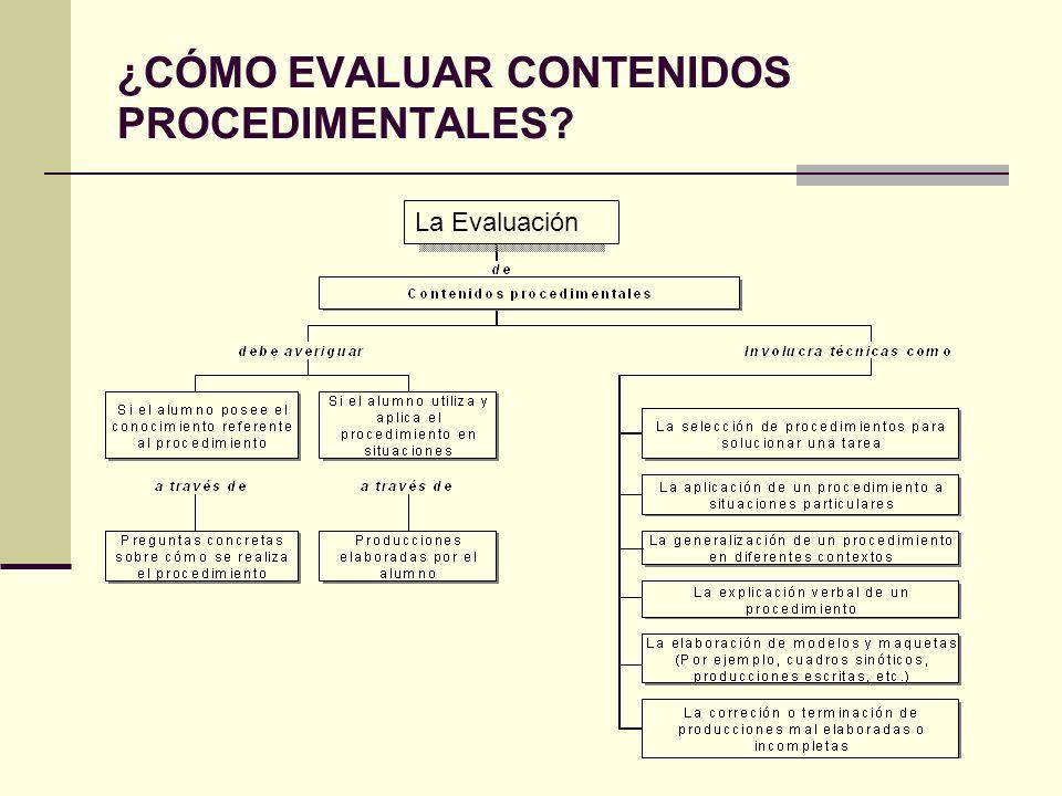 La evaluación de contenidos procedimentales: Debe considerar hasta qué punto el alumno es capaz de utilizar cada procedimiento.