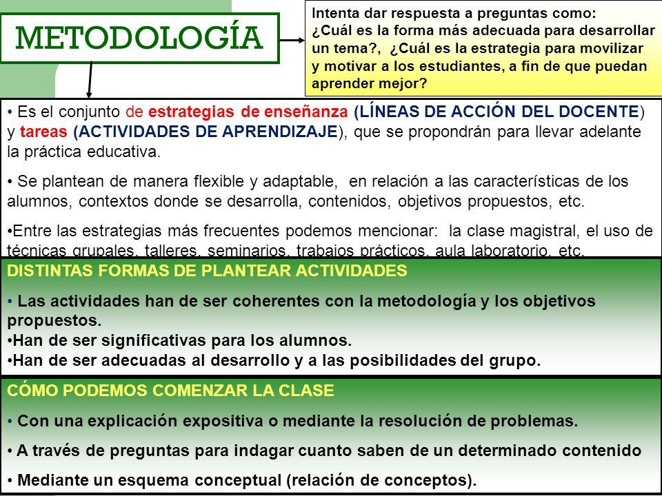 METODOLOGÍA Es el conjunto de estrategias de enseñanza (LÍNEAS DE ACCIÓN DEL DOCENTE) y tareas (ACTIVIDADES DE APRENDIZAJE), que se propondrán para ll