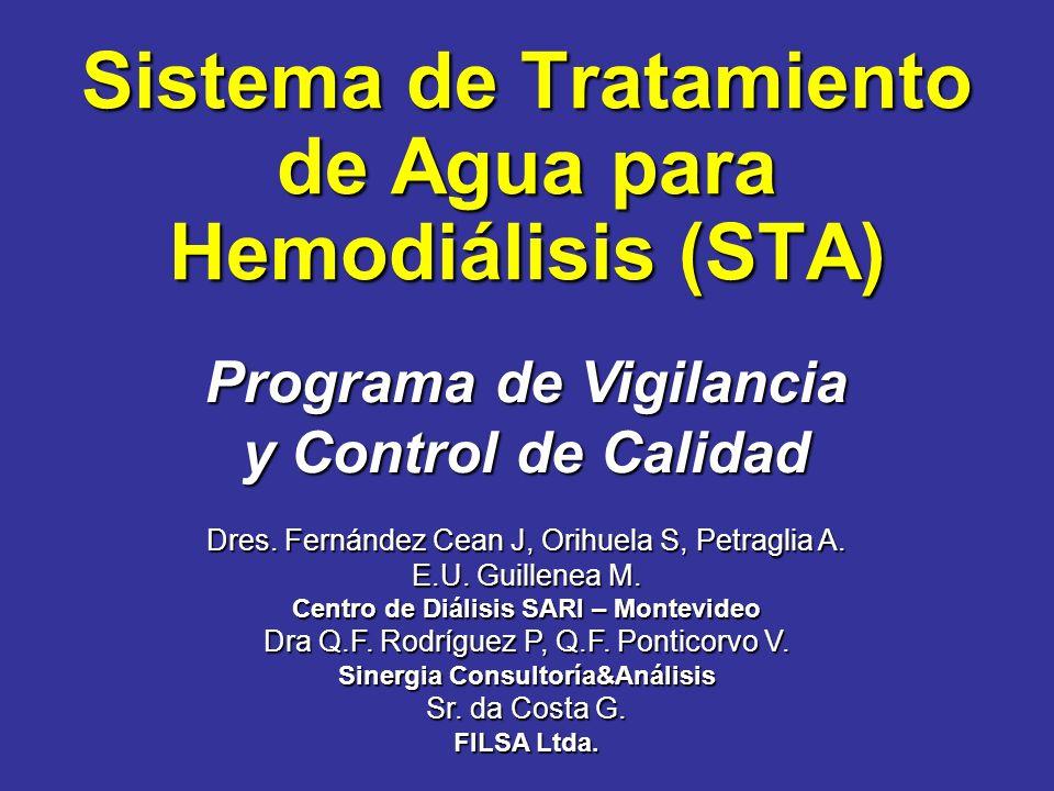 Sistema de Tratamiento de Agua para Hemodiálisis (STA) Programa de Vigilancia y Control de Calidad Dres. Fernández Cean J, Orihuela S, Petraglia A. E.