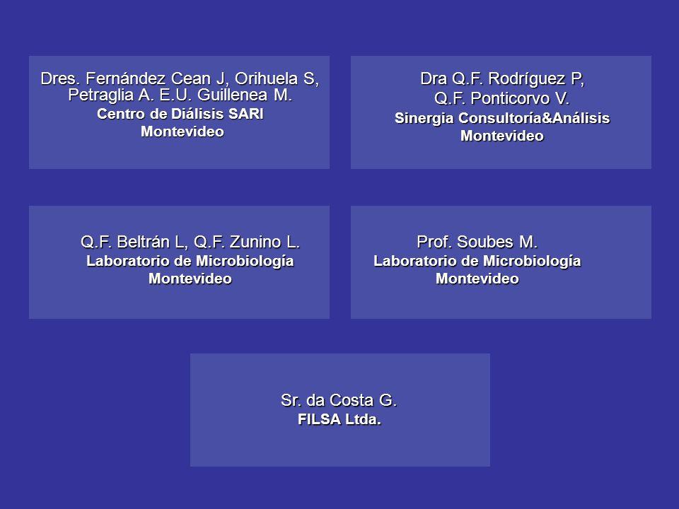 Prof. Soubes M. Laboratorio de Microbiología Montevideo Dres. Fernández Cean J, Orihuela S, Petraglia A. E.U. Guillenea M. Centro de Diálisis SARI Mon
