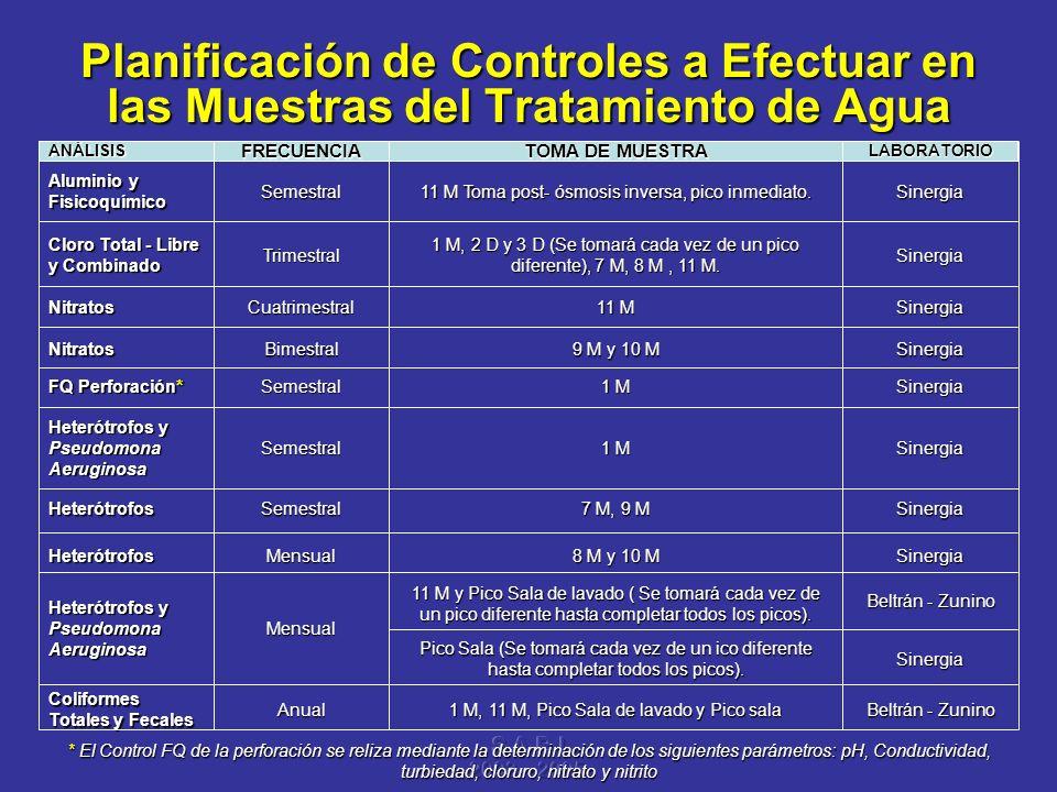 S A R I 2003 – 2005 Planificación de Controles a Efectuar en las Muestras del Tratamiento de Agua Beltrán - Zunino 1 M, 11 M, Pico Sala de lavado y Pi