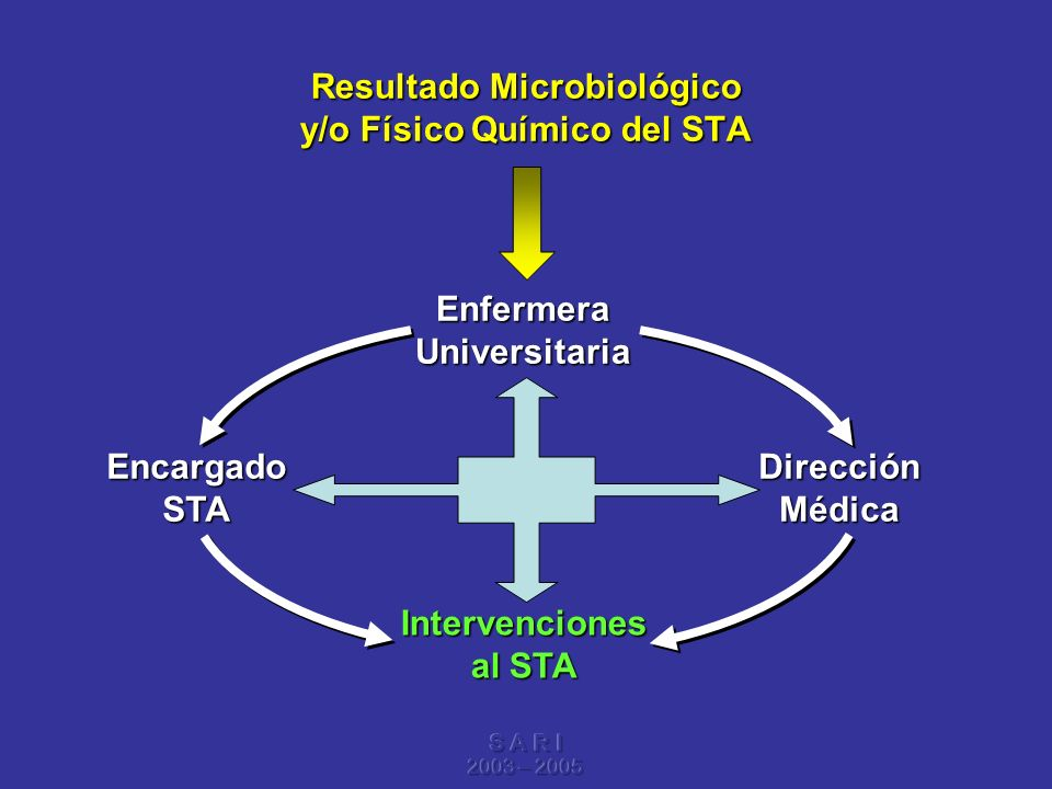 S A R I 2003 – 2005 Resultado Microbiológico y/o Físico Químico del STA Enfermera Universitaria Dirección Médica Encargado STA Intervenciones al STA