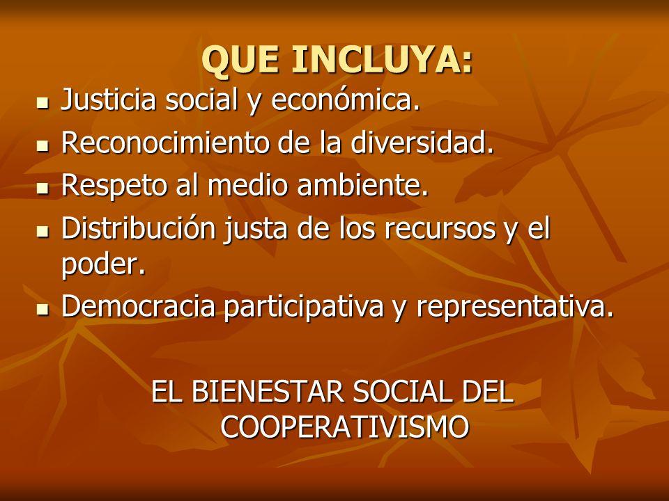 QUE INCLUYA: Justicia social y económica. Justicia social y económica. Reconocimiento de la diversidad. Reconocimiento de la diversidad. Respeto al me