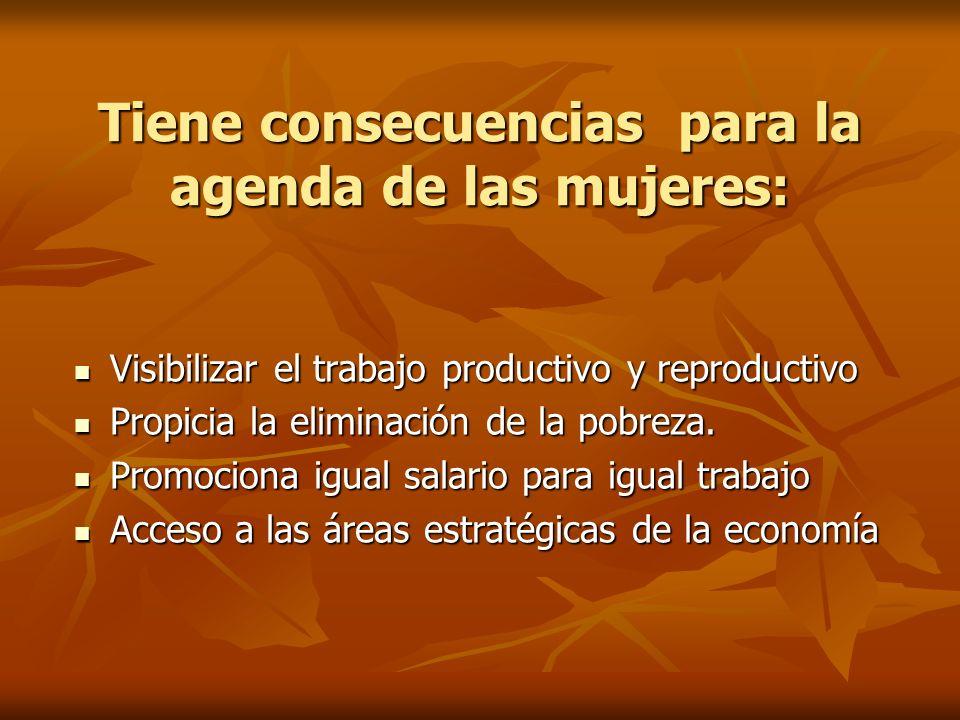 Tiene consecuencias para la agenda de las mujeres: Visibilizar el trabajo productivo y reproductivo Visibilizar el trabajo productivo y reproductivo P