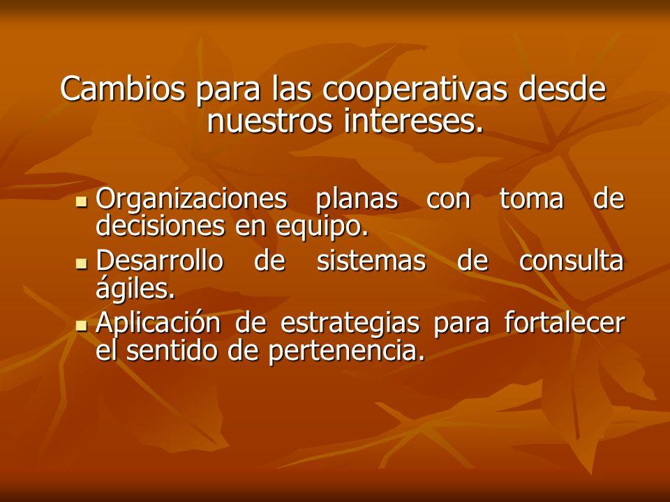 Cambios para las cooperativas desde nuestros intereses. Organizaciones planas con toma de decisiones en equipo. Organizaciones planas con toma de deci