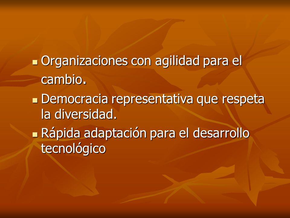 Organizaciones con agilidad para el cambio. Organizaciones con agilidad para el cambio. Democracia representativa que respeta la diversidad. Democraci