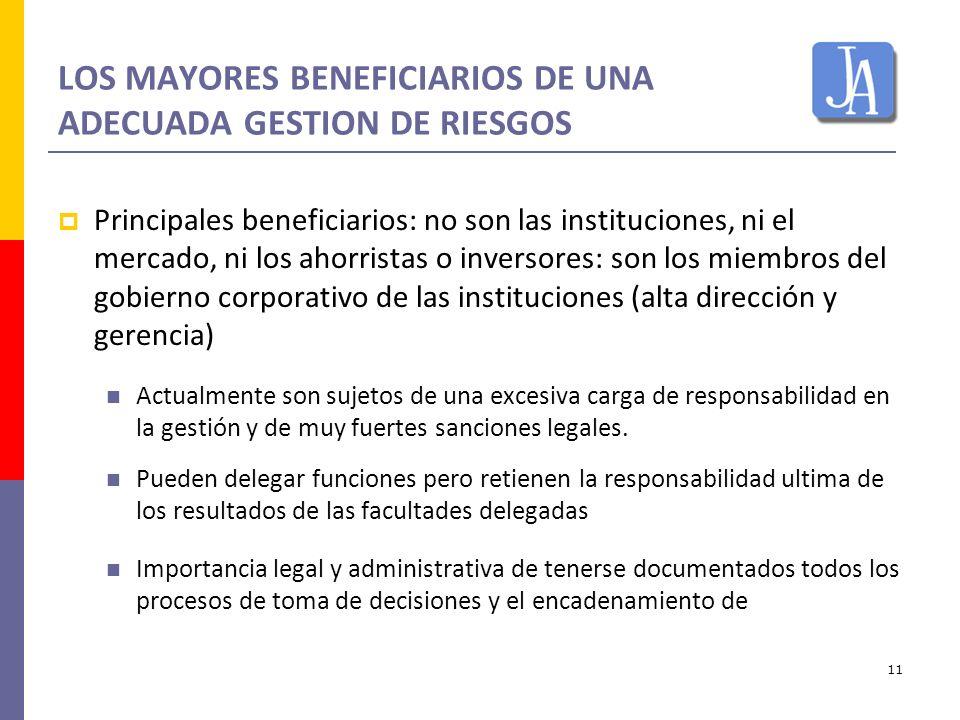 11 LOS MAYORES BENEFICIARIOS DE UNA ADECUADA GESTION DE RIESGOS Principales beneficiarios: no son las instituciones, ni el mercado, ni los ahorristas